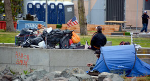 Homeless. SAN FRANCISCO CA USA 04 12 2015: Homeless has one of the Golden State most intractable problems. In San Francisco words like crisis and epidemic often Royalty Free Stock Images