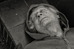 Homeless senior gets some sleep Royalty Free Stock Image