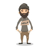 Homeless Shaggy Bearded man. Homeless. Shaggy Bearded man in ragged old clothes and with a sign HELP. Poor man without a home and money. Vector cartoon Stock Photos