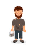 Homeless. Shaggy man in dirty rags and with a bag in his hand. Isolated character bum for infographics Stock Image