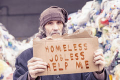 Homeless show a help message Stock Image