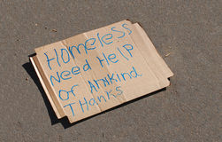 Homeless Sign Stock Image