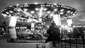 Flying saucer carrousel royalty free stock photography