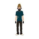 Homeless Skinny Shaggy Man. Royalty Free Stock Photography
