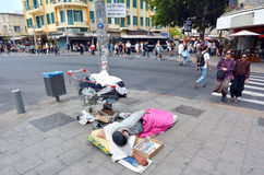 Homeless sleep in the street in Tel Aviv, Israel Royalty Free Stock Images