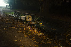 Homeless sleeping on a bench. Under the strong light of a lamp stock photo
