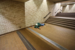 Free Homeless Sleeping On The Ground Royalty Free Stock Photography - 13434757