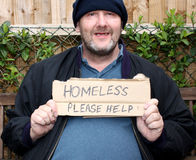 Homeless smiling man. Begging, Please help stock photography