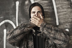 Homeless speak no evil Stock Photos