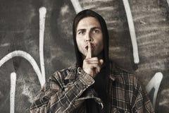 Homeless speak no evil. Homeless man speak no evil Stock Photos