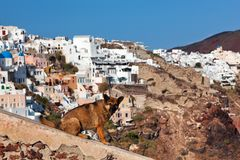 Homeless stray dog sitting on stone wall in Oia town, Santorini, Greece. Stock Image