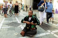 Homeless in the street. This is a begger in the street Royalty Free Stock Photo