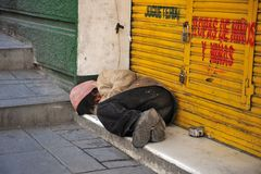 Homeless on the streets of La Paz. Stock Image