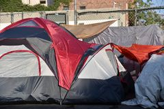 Homeless tent in city. Tents of the homeless on the streets of Los Angeles Stock Image
