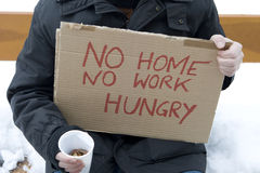 Homeless, unemployed, hungry Royalty Free Stock Photos