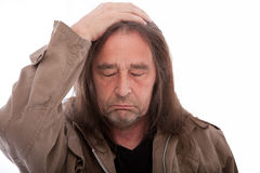 Homeless unhappy man Royalty Free Stock Photo