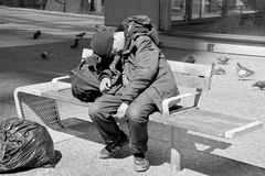 Homeless. VANCOUVER BC CANADA JUNE 12 2015: A total of 1,798 people identified as homeless, with 538 living on the street, 1,136 in shelters and 124 of no fixed Stock Photography