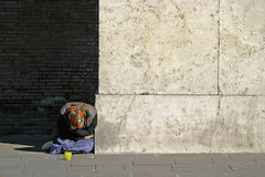 Homeless VI. A begging woman. lots of space for text Stock Image
