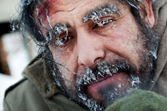 Homeless winter frozen face Royalty Free Stock Images