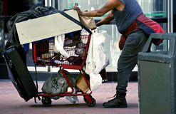 Free Homeless With Shopping Cart Stock Image - 33201941