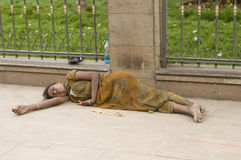 Homeless woman Royalty Free Stock Images