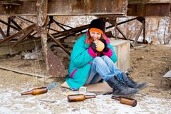 Homeless woman. A portrait of a homeless hungry woman royalty free stock images