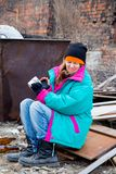 Homeless woman. A portrait of a homeless hungry woman royalty free stock image