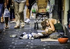 Homeless Woman on the Street. 23 August 2014 - Sicily, Italy. Poor young homeless woman with the dog,  sitting and begging for money in the busy street of Stock Image