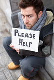 Homeless Young Man Begging In Street Royalty Free Stock Photos
