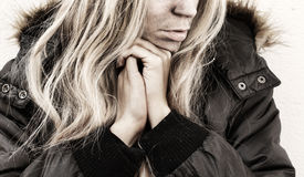 Homeless. Young woman with dirty face Royalty Free Stock Photos