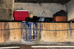 Homelessness under bridge, South Florida Royalty Free Stock Images