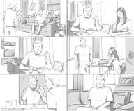 Homelife delle coppie dello Storyboards illustrazione vettoriale