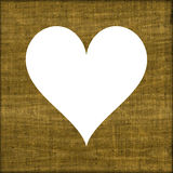 Homely burlap symbol of heart or sackcloth beautiful frame Royalty Free Stock Photos