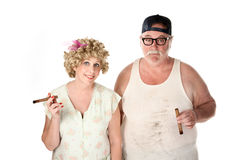 Homely couple with cigars Stock Image
