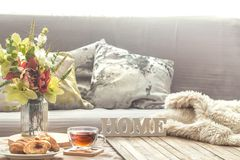 Homely cozy spring interior in the living room royalty free stock images