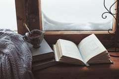Homely wnter concept of window sill Stock Image