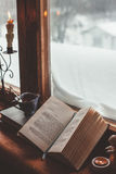Homely wnter concept of window sill Royalty Free Stock Photos