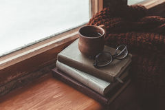 Homely wnter concept of window sill Stock Images