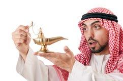 Homem árabe com lâmpada Foto de Stock Royalty Free