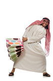 Homem árabe com os sacos de compras no branco Fotos de Stock Royalty Free