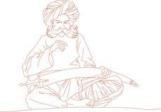 Homem árabe com uma espada ilustração royalty free