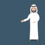 Homem árabe dos desenhos animados que dá o gesto do convite com mãos Fotografia de Stock Royalty Free