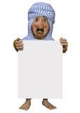 Homem árabe, guardando um sinal Fotografia de Stock Royalty Free