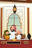 Homem árabe muçulmano com suas crianças Fotografia de Stock Royalty Free
