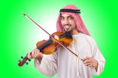 Homem árabe que joga a música Fotografia de Stock Royalty Free