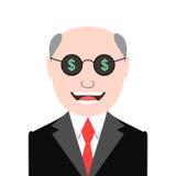 Homem ávido com vidros dos sinais de dólar Foto de Stock Royalty Free
