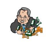 Homem ávido de desenhos animados do dinheiro ilustração do vetor