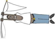 Homem étnico em um vento forte ilustração stock