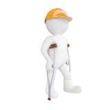 homem 3d branco em um capacete e em muletas ilustração stock
