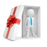 homem 3d branco na caixa de presente Imagem de Stock Royalty Free